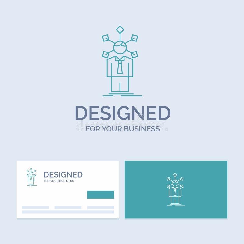 rozwój, istota ludzka, sieć, osobowość, jaźń logo linii ikony Biznesowy symbol dla twój biznesu Turkusowe wizyt?wki z ilustracja wektor