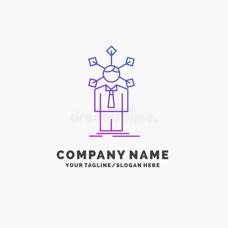 rozwój, istota ludzka, sieć, osobowość, jaźń logo Purpurowy Biznesowy szablon Miejsce dla Tagline ilustracji