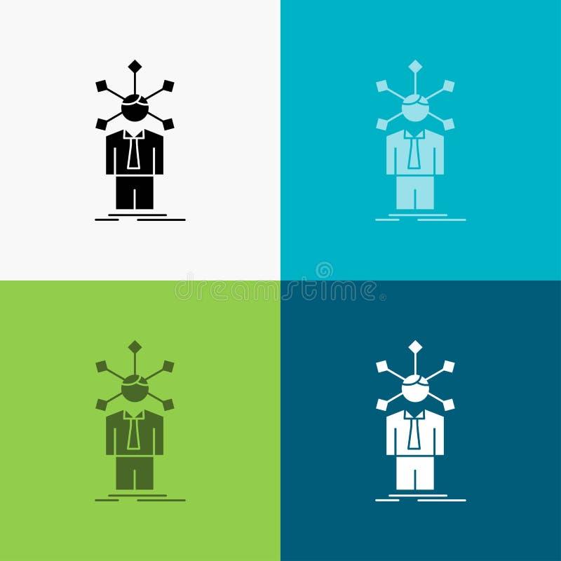 rozwój, istota ludzka, sieć, osobowość, jaźni ikona Nad Różnorodnym tłem glifu stylu projekt, projektuj?cy dla sieci i app 10 eps ilustracja wektor