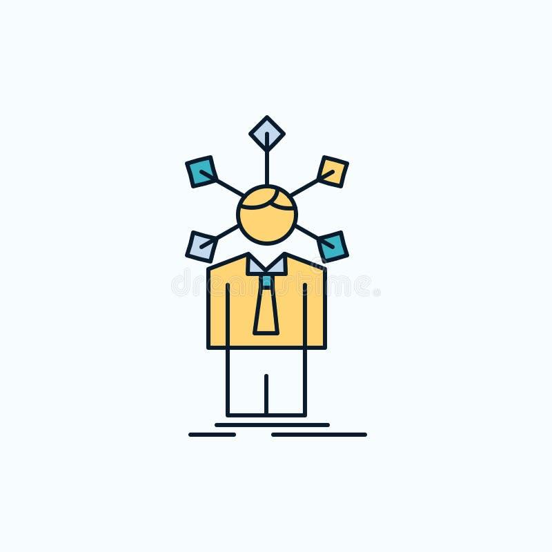 rozwój, istota ludzka, sieć, osobowość, jaźni mieszkania ikona ziele?, kolor ilustracji