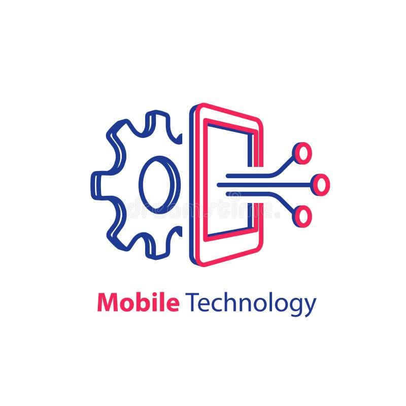 Rozwój oprogramowania, mobilny technologii pojęcie, smartphone innowacja royalty ilustracja
