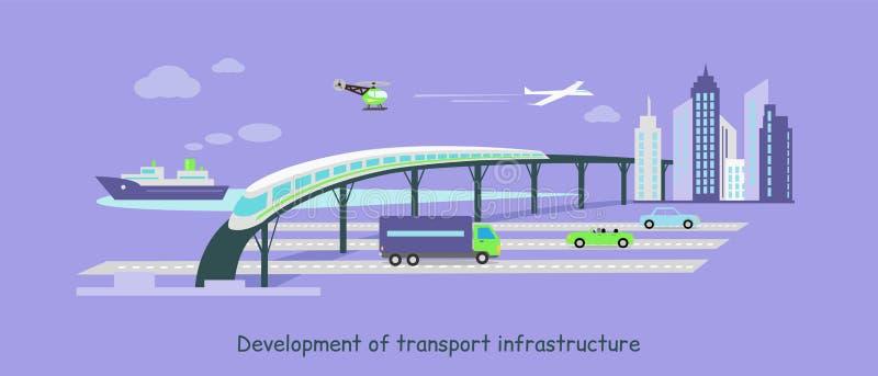 Rozwój Przewiezionej infrastruktury ikony mieszkanie ilustracja wektor