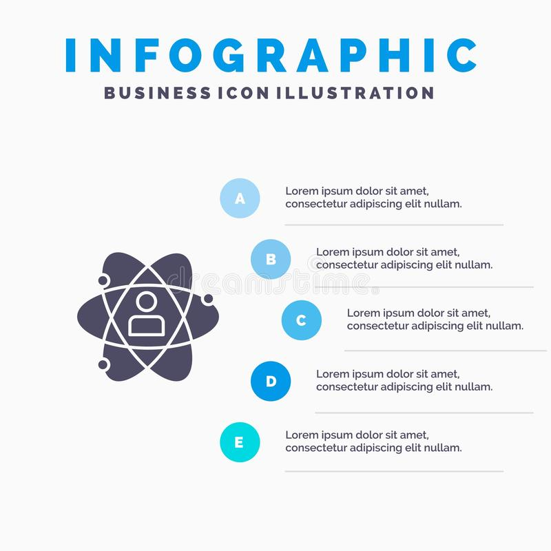 Rozwój, przyrost, istota ludzka, osoba, ogłoszenie towarzyskie, władza, talent ikony Infographics 5 kroków prezentacji Stały tło royalty ilustracja
