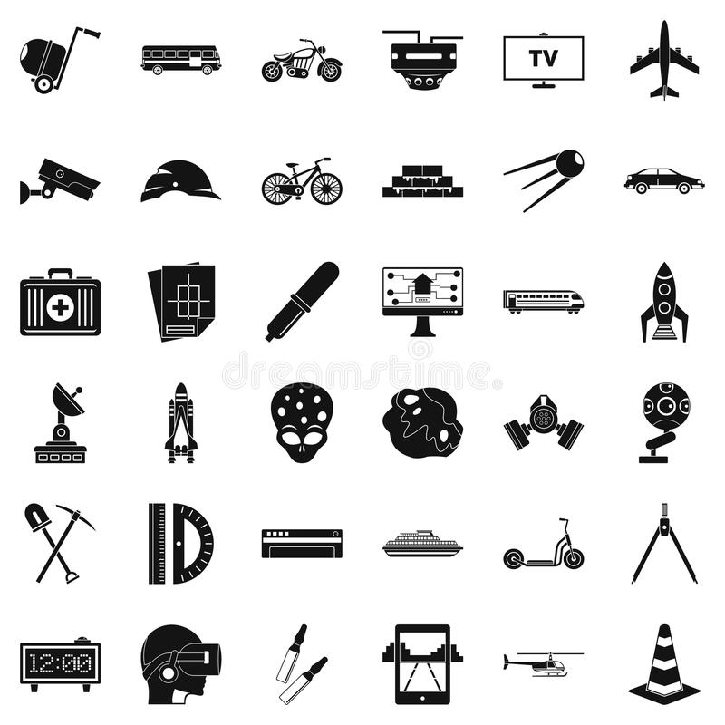 Rozwój w toku ikony ustawiać, prosty styl ilustracji