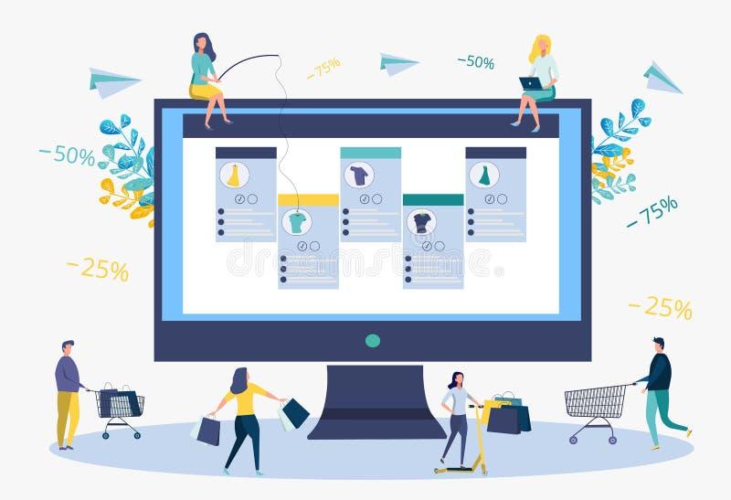 Rozw?j biznesu strategia Rabaty na usługach, zaliczka Online sklep Ludzie chwyt rzeczy na popasie metafora ilustracja wektor