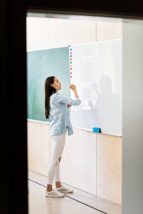 rozważna azjatykcia studencka dziewczyna pisze na whiteboard obrazy stock