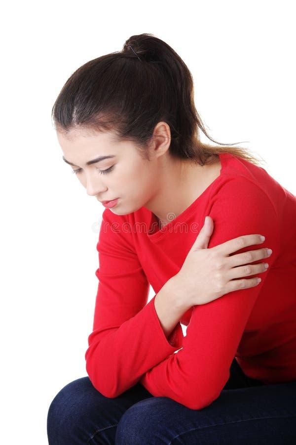 Rozważna kobieta z problemem lub depresją zdjęcie royalty free