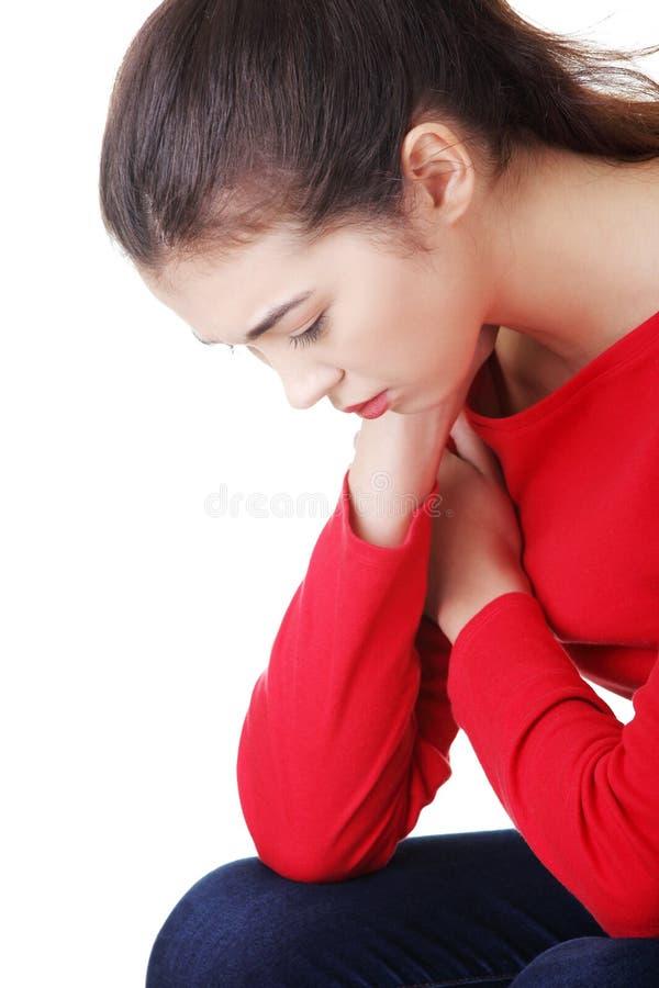 Rozważna kobieta z problemem lub depresją zdjęcie stock