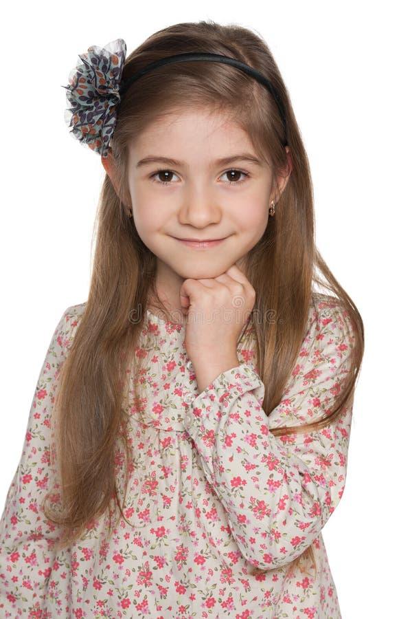 Download Rozważna Urocza Mała Dziewczynka Zdjęcie Stock - Obraz złożonej z zbliżenie, uśmiech: 41951456