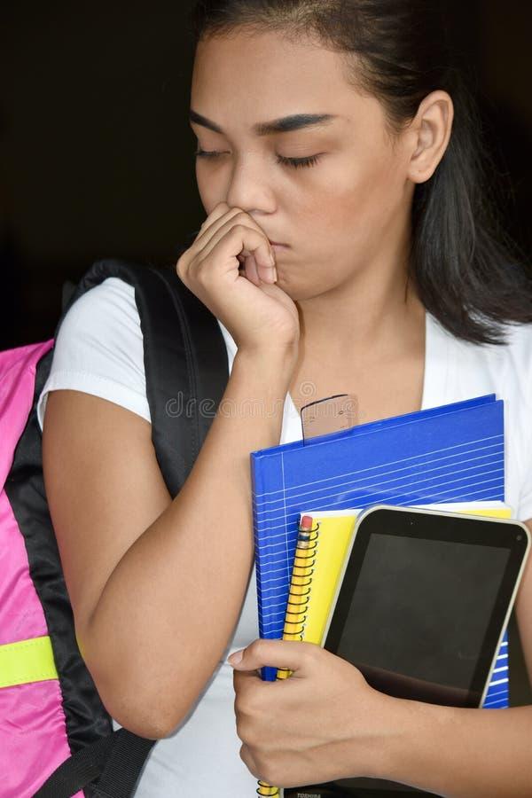 Rozważny Śliczny Mniejszościowy dziewczyna uczeń zdjęcie stock