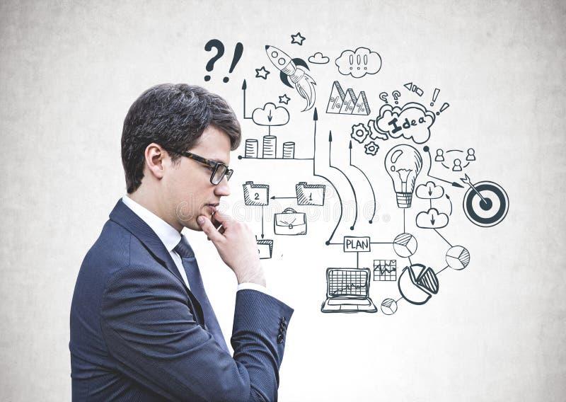 Rozważny biznesmen w szkłach, plan biznesowy obraz stock