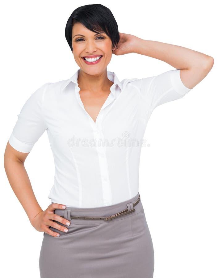 Rozważny brown z włosami bizneswoman w spódnicie obrazy royalty free