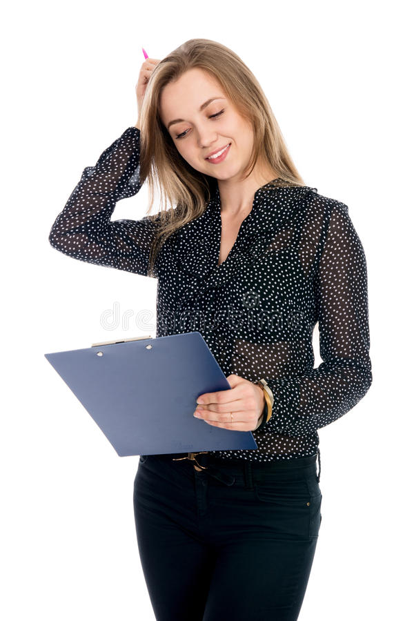Rozważny dziewczyna biznesmen w ciemnej bluzce fotografia stock