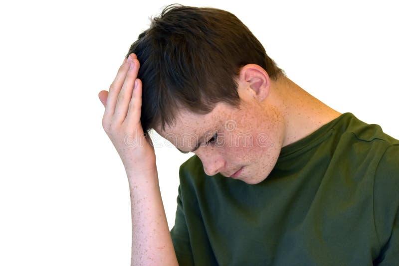 Rozważny nastoletni chłopak outside, kłóci się z on zdjęcia stock