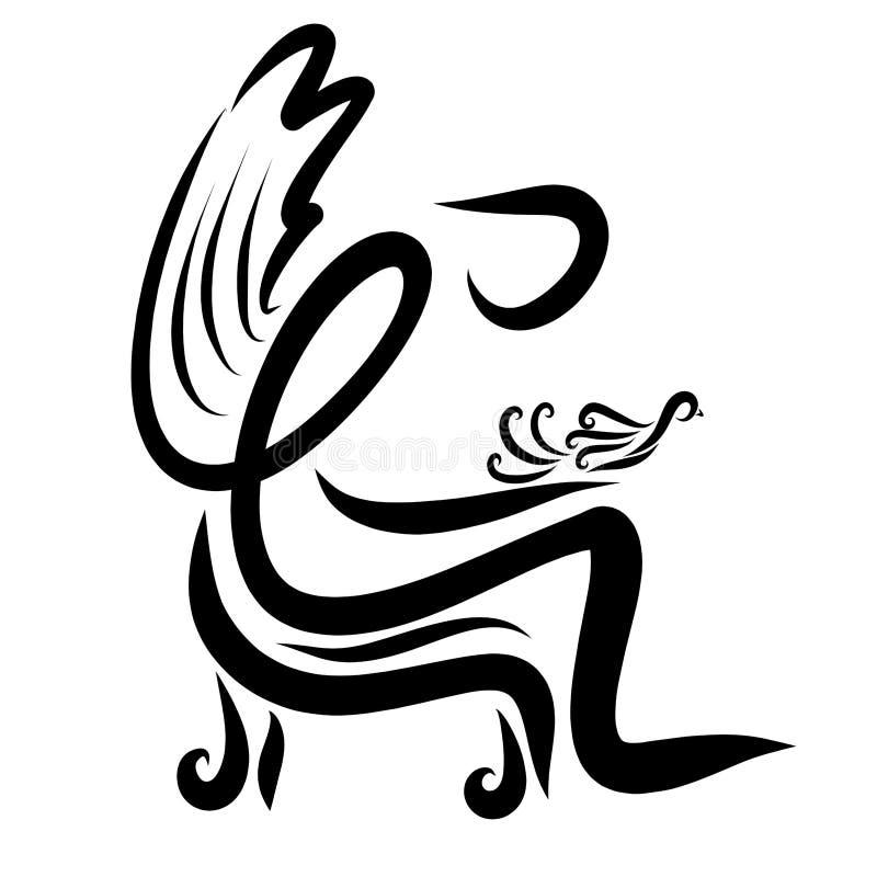 Rozważny oskrzydlony mężczyzna trzyma ptaka w jego rękach ilustracji