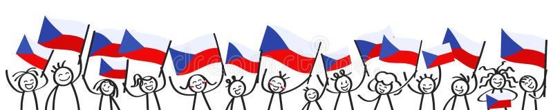 Rozweselać tłumu szczęśliwe kij postacie z Czeskimi flaga państowowa, uśmiechnięci republika czech zwolennicy, sportów fan ilustracji