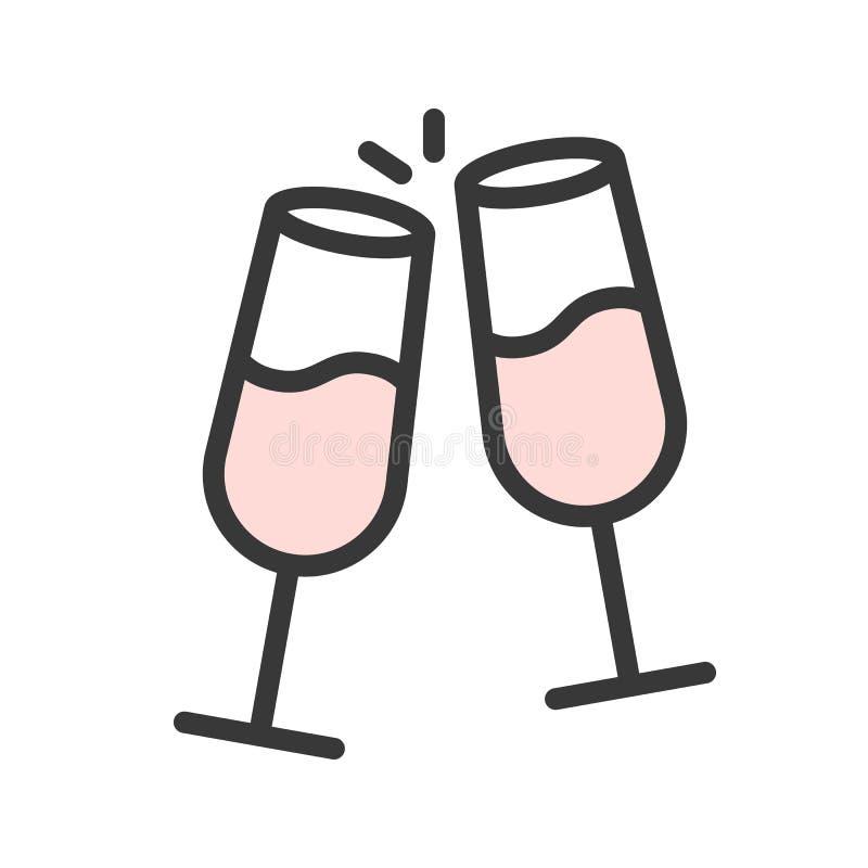 Rozwesela szampana, Wesoło bożych narodzeń ikony odnosić sie set, wypełniający outli royalty ilustracja