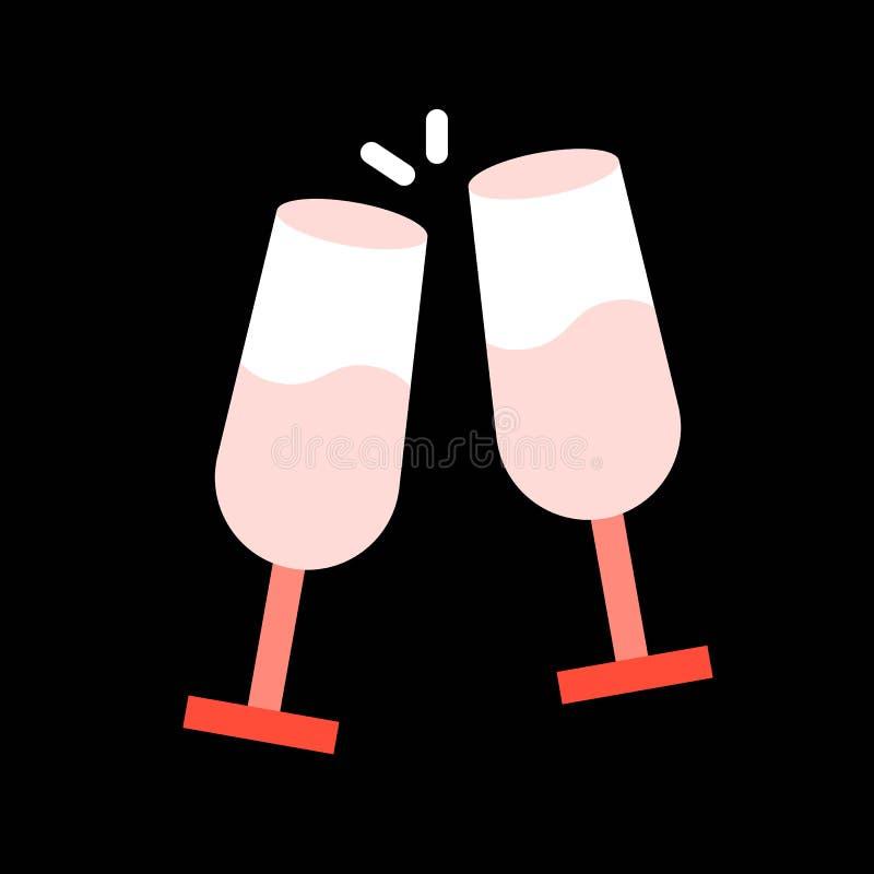 Rozwesela szampana, Wesoło bożych narodzeń ikony wypełniający set royalty ilustracja