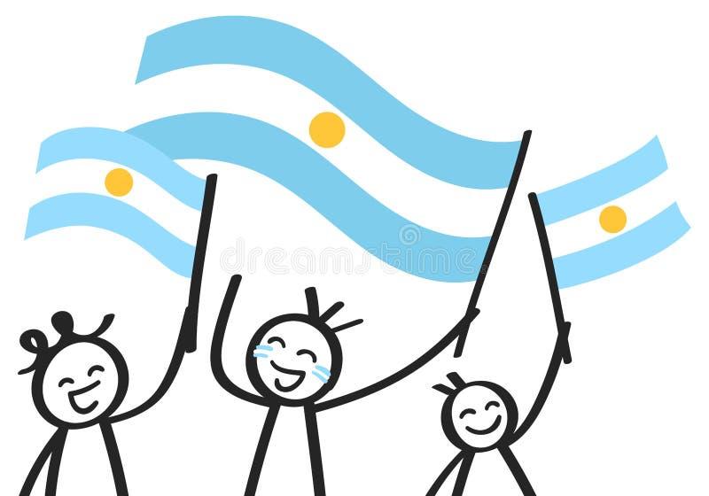 Rozweselający grupy trzy szczęśliwej kij postaci z Argentyńskimi flaga państowowa, uśmiecha się Argentyna zwolenników, sportów fa ilustracji