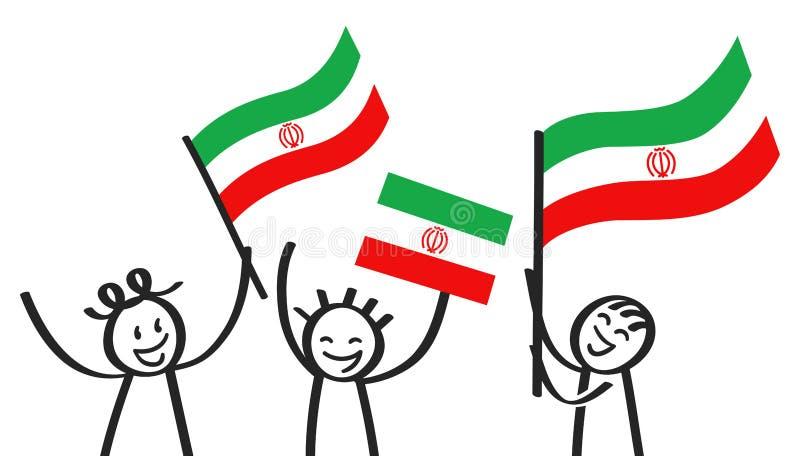 Rozweselający grupy trzy szczęśliwej kij postaci z Irańskimi flaga państowowa, uśmiecha się Iran zwolenników, sportów fan royalty ilustracja