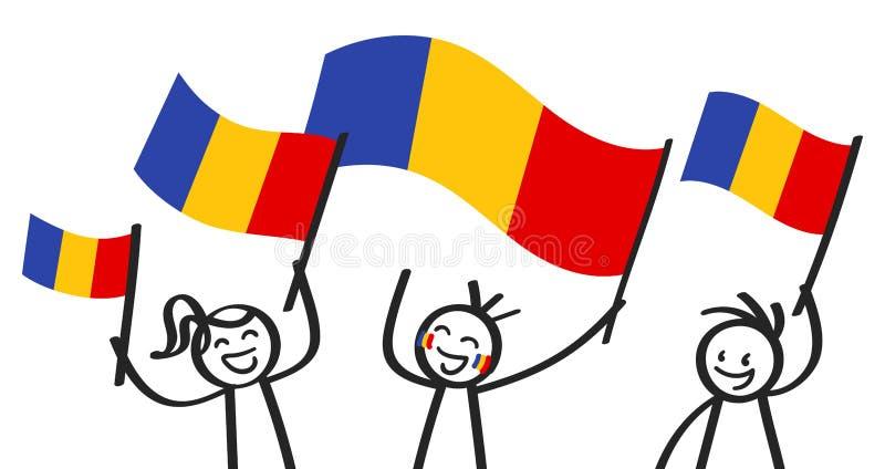 Rozweselający grupy trzy szczęśliwej kij postaci z Rumuńskimi flaga państowowa, uśmiecha się Rumunia zwolenników, sportów fan royalty ilustracja