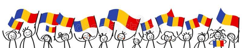 Rozweselający tłumu szczęśliwe kij postacie z Rumuńskimi flaga państowowa, uśmiecha się Rumunia zwolenników, sportów fan ilustracji