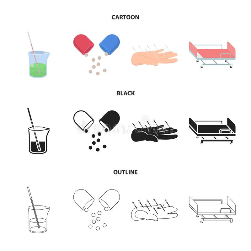Rozwiązanie, pastylka, akupunktura, szpitalny nosze na kółkach Medycyn ustalone inkasowe ikony w kreskówce, czerń, konturu stylow ilustracja wektor