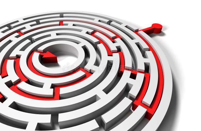 Rozwiązany round labitynt z czerwoną strzała w celu ilustracja wektor