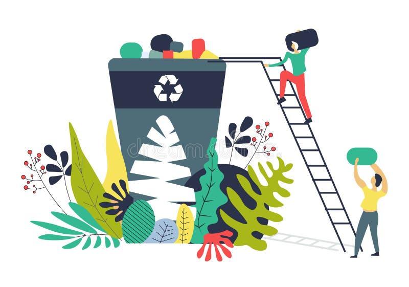Rozwiązujący ekologicznych problemy oddzielać jałowego rozładowanie wektor ilustracji