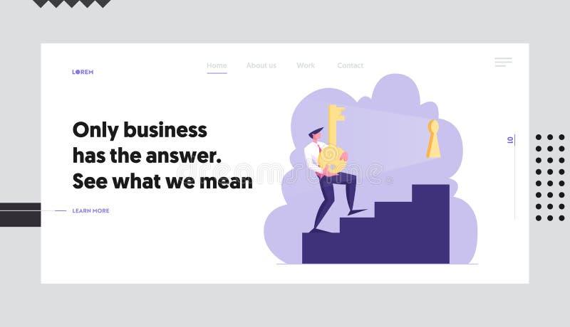 Rozwiązujący Problemową strony internetowej lądowania stronę, biznesmen Niesie Ciężkiego złoto klucz Na piętrze Otwierać Keyhole  ilustracji