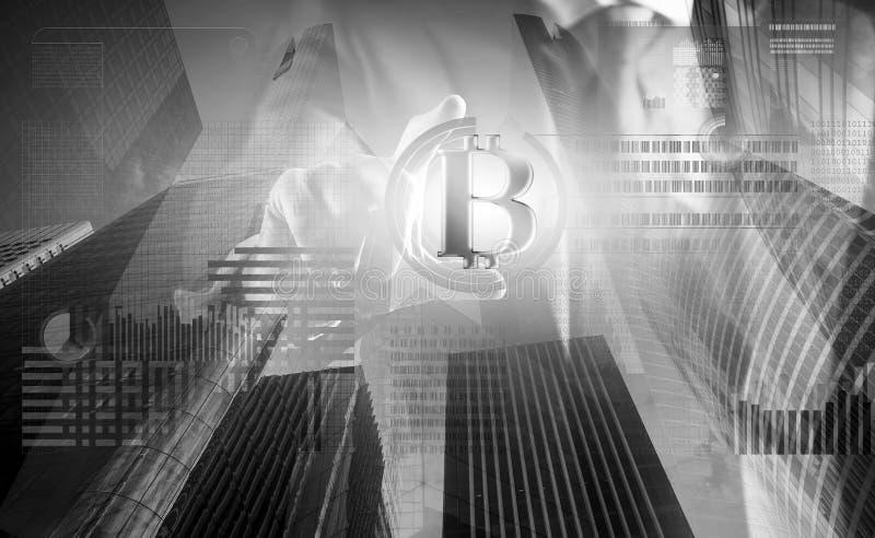 Rozwiązuje blok zarabia zysk Blockchain technologia minować Bitcoin Przyszłościowy cyfrowy pieniądze bitcoin Mężczyzna antrakt wi ilustracji