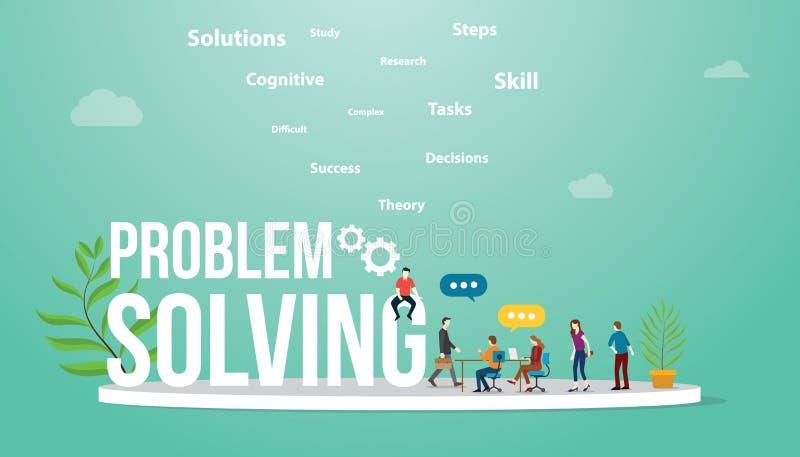 Rozwiązywanie problemów biznesowy pojęcie z dużymi słowo drużyny i teksta spotykać ludźmi dyskutuje rozwiązywać problem royalty ilustracja