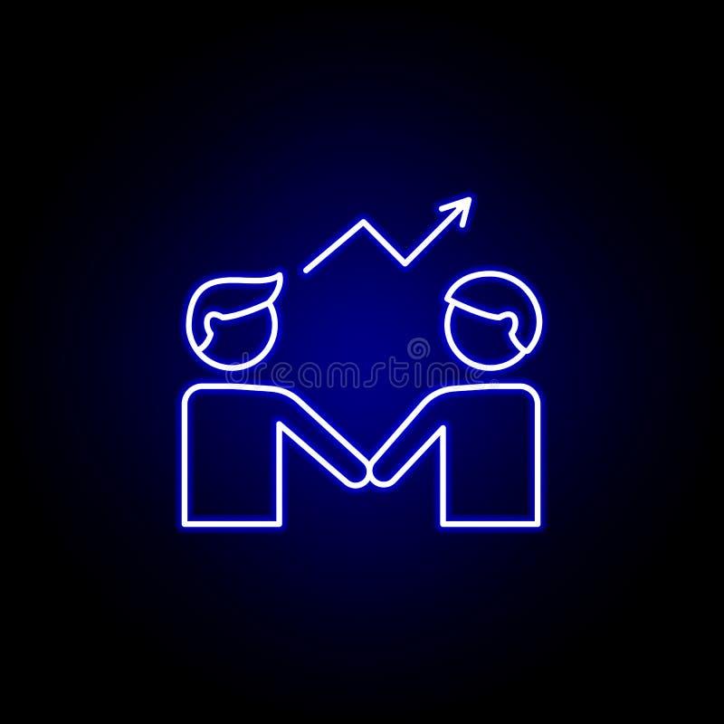 rozwiń kontur przyjaźni niebieska neon icon Ikona linii elementów przyjaźni Znaki, symbole i wektory mogą być używane w Interneci ilustracji