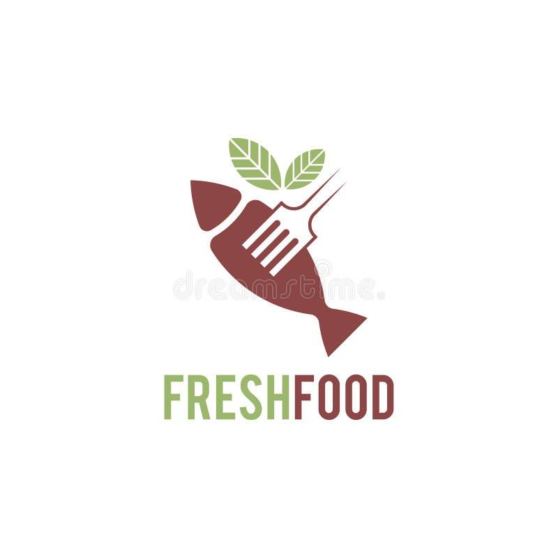 Rozwidla logo z li??mi i ryb? z odrobina rocznika kolorem Zamierzaj?cy dla ?wie?a ?ywno?? logo royalty ilustracja