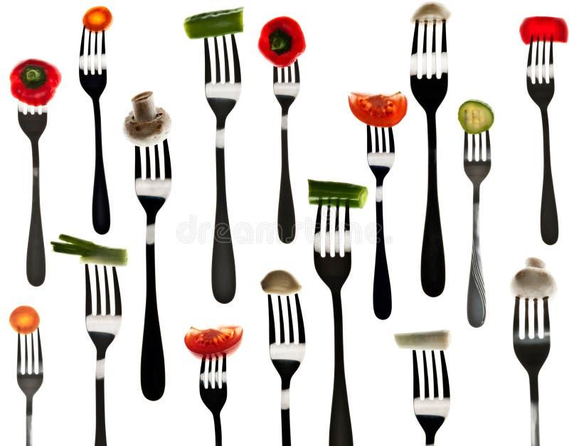 rozwidla plasterków wiele warzywa obraz stock