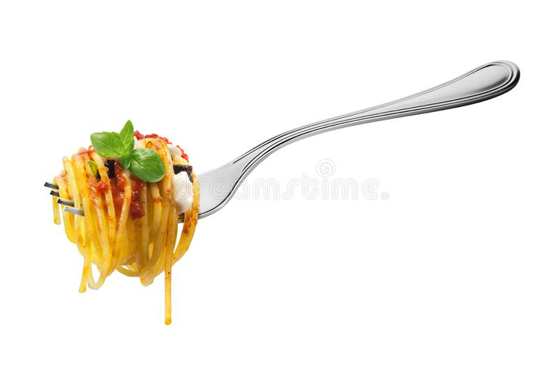 Rozwidla z spaghetti makaronu mozzarelli aubergine basilem i pomidorami obrazy royalty free