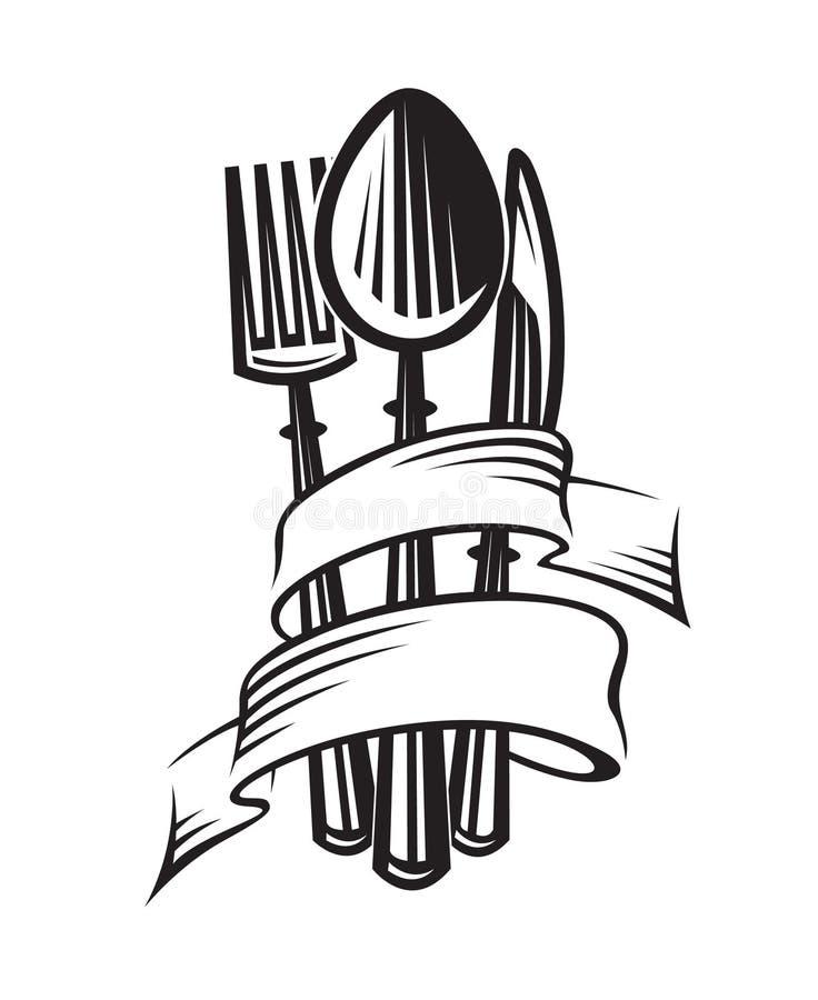 rozwidlenia kuchennego noża łyżki trzy naczynia ilustracja wektor