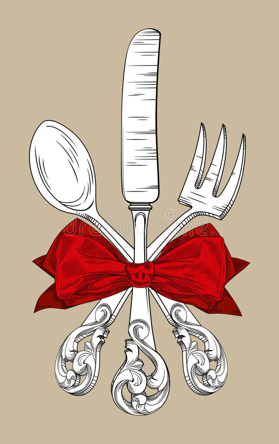 rozwidlenia kuchennego noża łyżki trzy naczynia royalty ilustracja