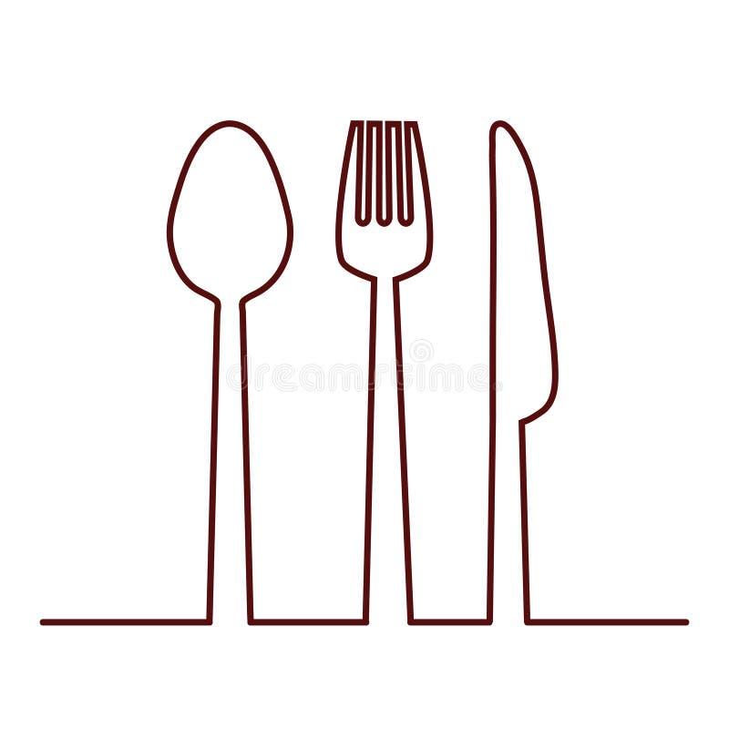 rozwidlenia, noża i łyżki ikona, Cutlery i menu, akcyjny wektorowy illus ilustracja wektor
