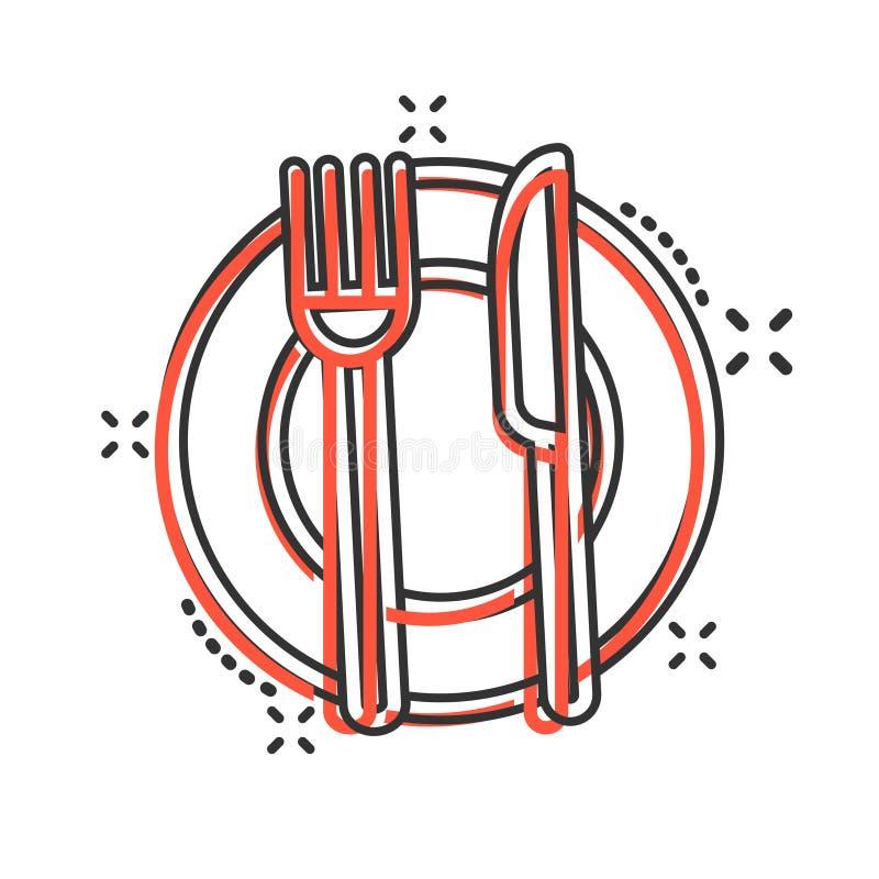 Rozwidlenia, noża i talerza ikona w komiczce, projektuje Restauracyjna wektorowa kreskówki ilustracja na białym odosobnionym tle  ilustracja wektor