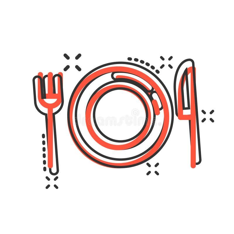Rozwidlenia, noża i talerza ikona w komiczce, projektuje Restauracyjna wektorowa kreskówki ilustracja na białym odosobnionym tle  ilustracji