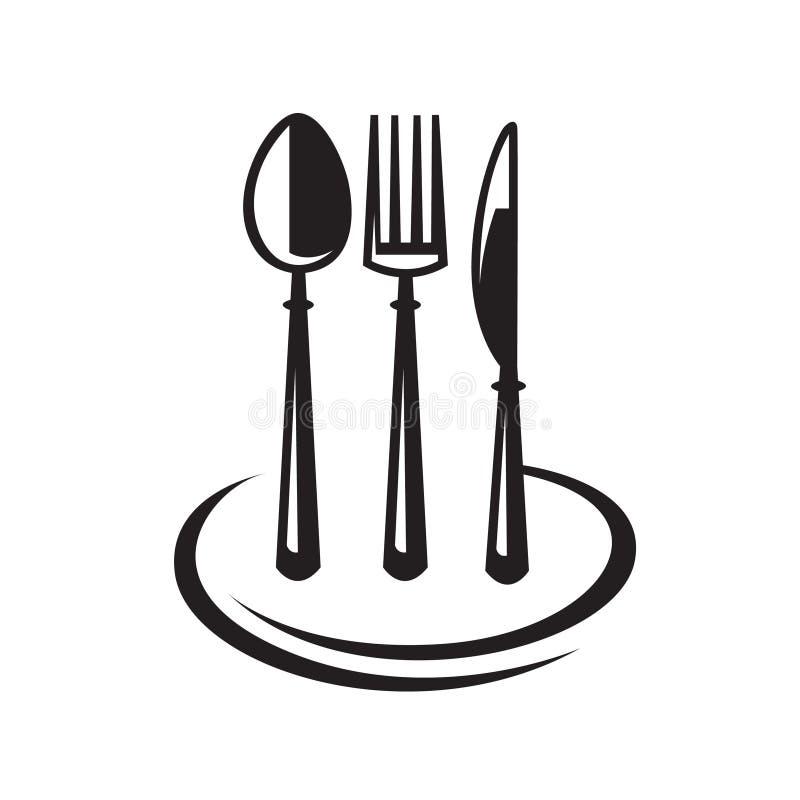 rozwidlenia noża talerza łyżka ilustracja wektor