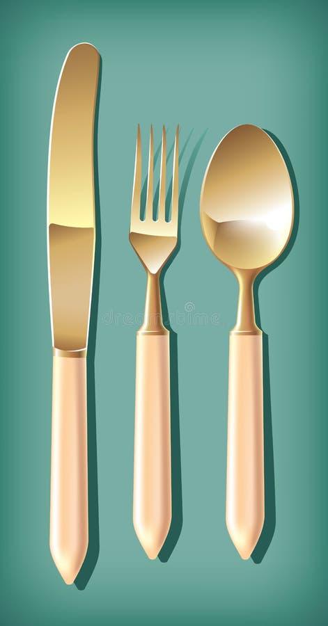 rozwidlenie łyżki złoty nożowy stół royalty ilustracja