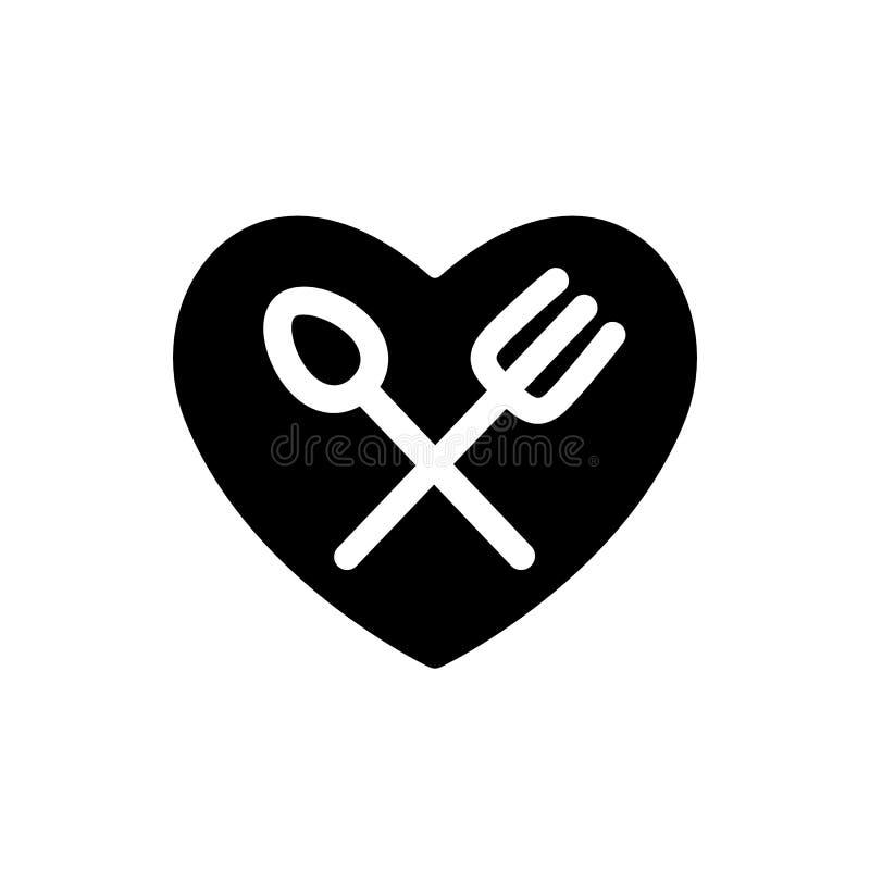 Rozwidlenie i łyżkowe białe proste sylwetki w kierowej czarnej kształt ikonie Cutlery w twój kuchennej projekt ilustracji 10 eps royalty ilustracja