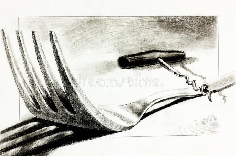 Rozwidlenie i corkscrew royalty ilustracja