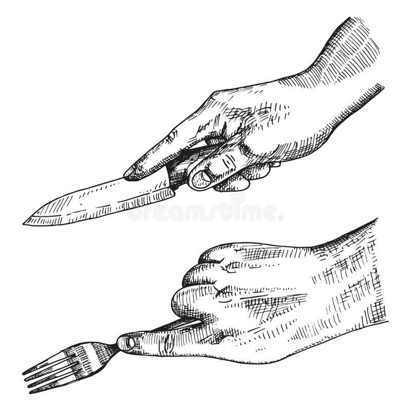 Rozwidlenie i nóż w mężczyzna ` s ręce Wektorowy nakreślenie royalty ilustracja