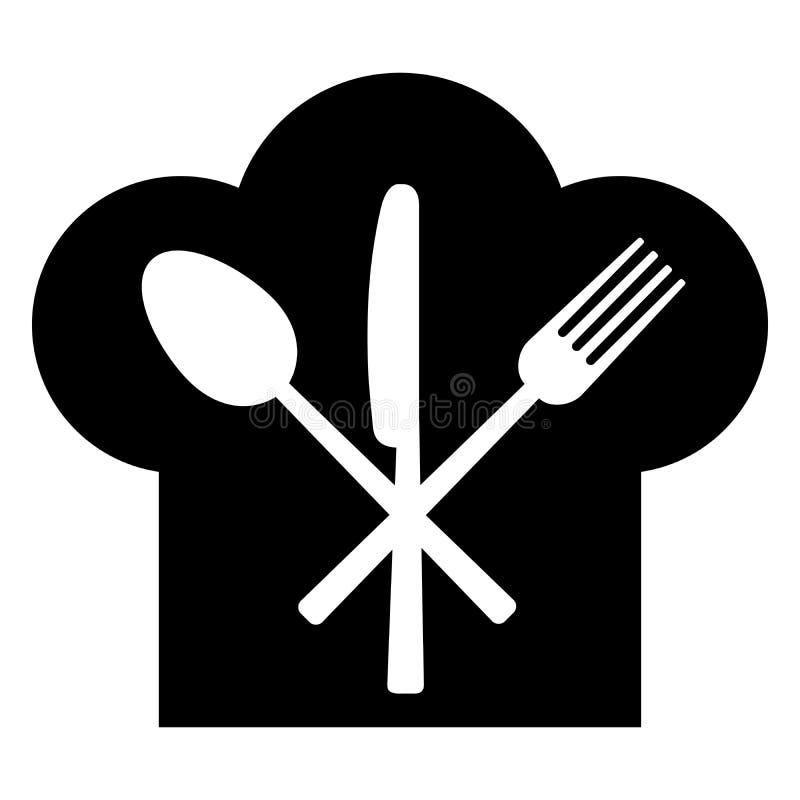Rozwidlenie, nóż, łyżka i pióropusz kucharz, ilustracji
