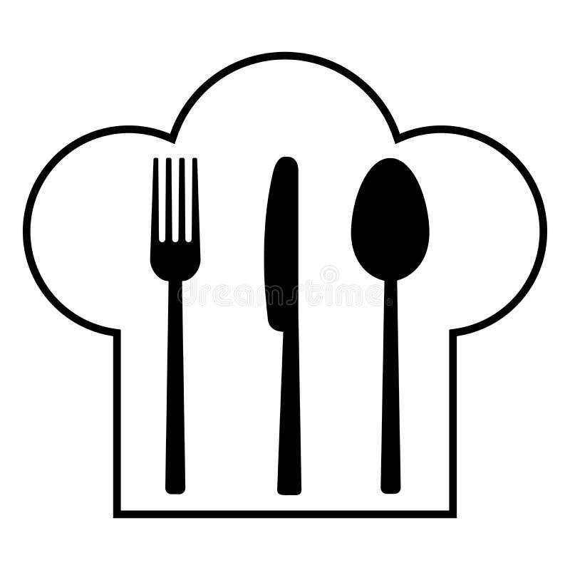 Rozwidlenie, nóż, łyżka i pióropusz kucharz, ilustracja wektor