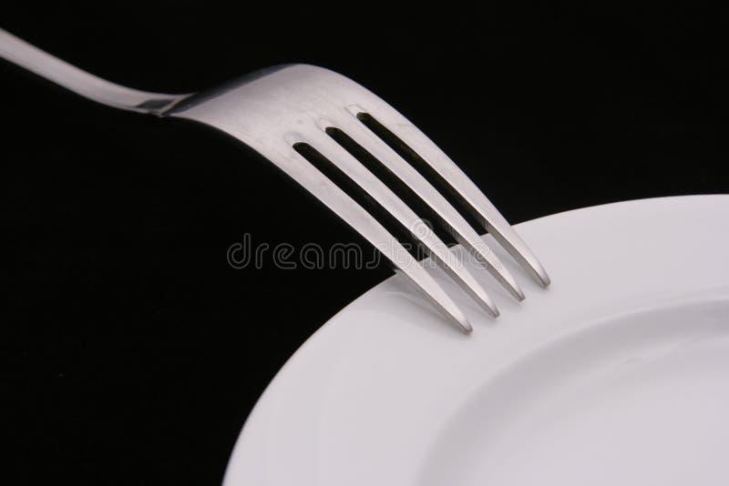 rozwidlenie obiadowy talerz obraz stock