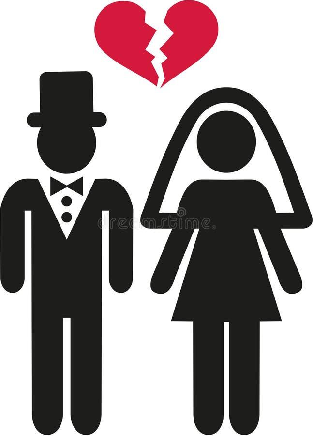 Rozwiedziony ślub pary symbol ilustracji